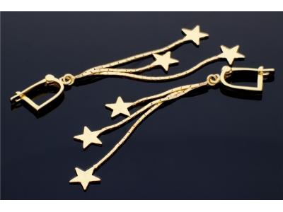 Cercei aur cu pandante stelute  bijuterii dama