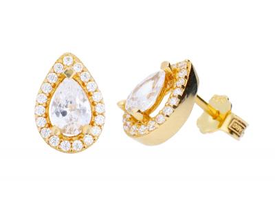 Cercei aur cu surub bijuterii cu zirconii