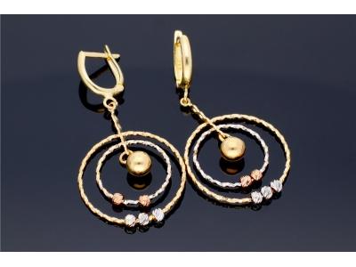 Cercei aur pandant cercuri