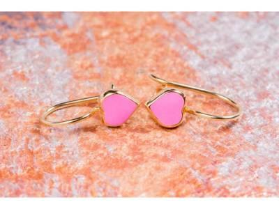 Cercei copii bijuterii aur 14K inimioara email roz