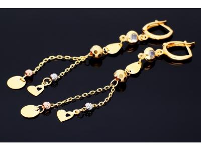 Cercei cu banut inimioara bijuterii aur 14k
