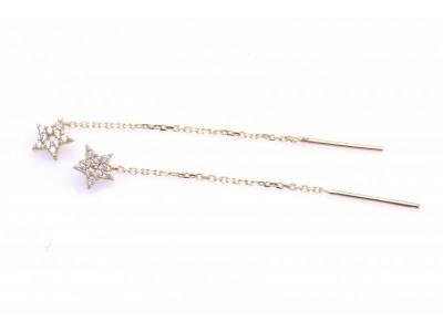 Cercei cu lant aur 14 k bijuterii dama