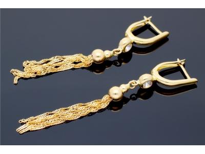 Cercei cu lant aur 14K bijuterii dama