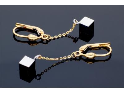 Cercei cu lant aur 14K pandant cubulet