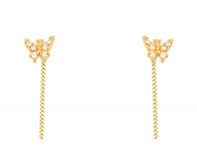 Cercei cu lant pandant fluturas bijuterii aur 14k