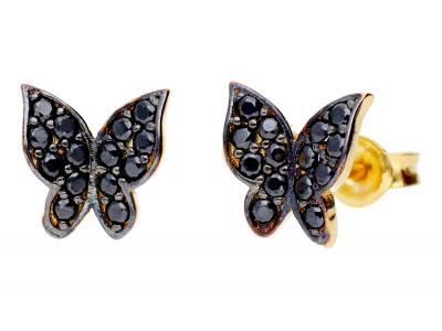 Cercei cu surub aur 14K fluturasi zirconia negre