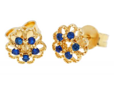 Cercei cu surub din aur 14K  zirconii albastre