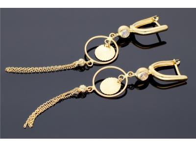 Cercei dama aur 14K cu lant bijuterii online