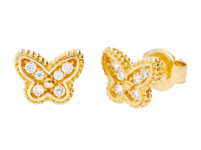 Cercei din aur 14K bijuterii dama fluturas