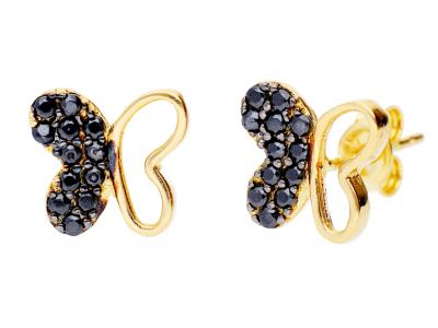 Cercei din aur 14K fluturas zirconii negre