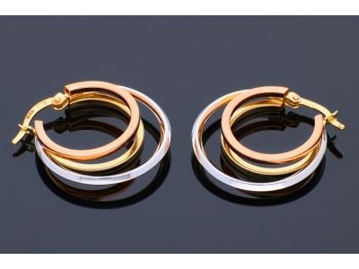 Cercei din aur 14K galben, alb si roz