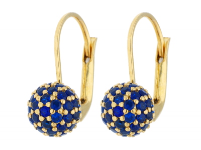 Cercei din aur 14K galben bilute zirconia albastre