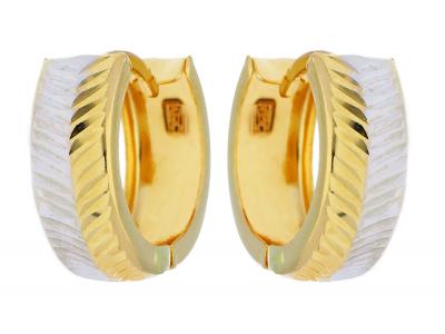Cercei din aur 14K galben si alb