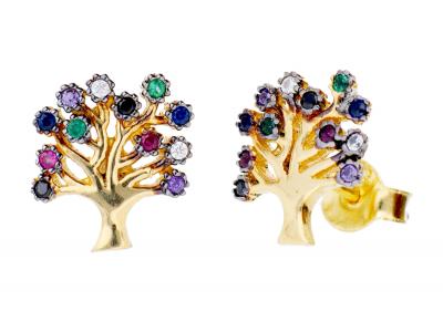 Cercei din aur 14K pomul vietii zirconia colorate