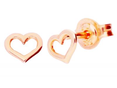 Cercei inimioare aur roz cu surub