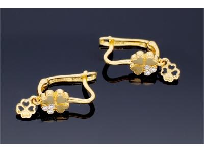 Cercei pentru copii - aur 14 K trifoias