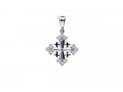 Cruce de Ierusalim aur alb 14K