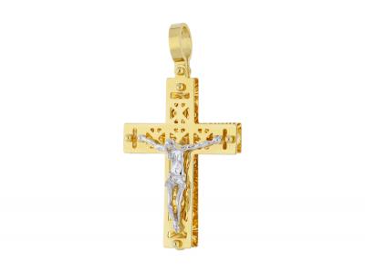 Cruciulita aur 14K galben si alb Iisus