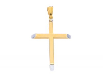 Cruciulita din aur 14K galben si alb