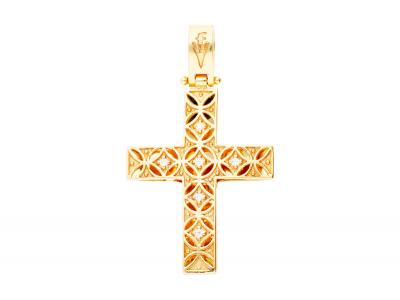 Cruciulita pandantiv cu 2 fete aur 14k cu zirconii