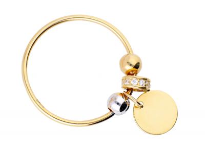 Inel aur 14K bijuterii cu charm banut gravabil