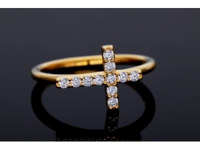 Bijuterii aur - Inele din aur 14K galben cruciulita zirconii