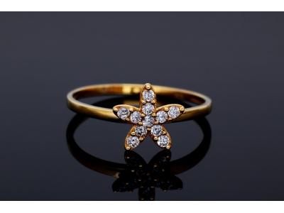 Inel aur 14k cadouri bijuterii floricica zirconii