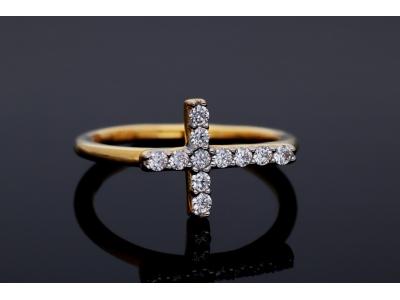 Inel aur 14K cruciulita cristale zirconia