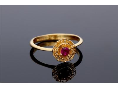 Inel aur 14K cu piatra rosie