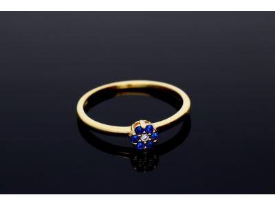 Inel aur 14k cu zirconii albastre