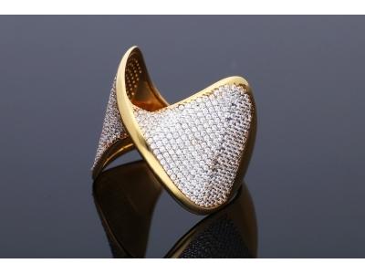 Inel aur 14K galben cu pietricele