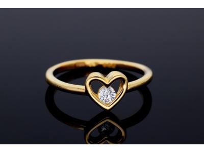 Inel aur 14K inimioara bijuterii dama