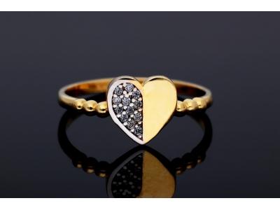 Inel aur 14k inimioara cu zirconii