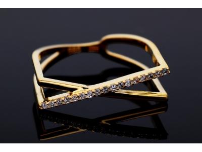 Inel aur 14K minimalist geometry