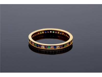 Inel aur tip verigheta zirconii multicolore