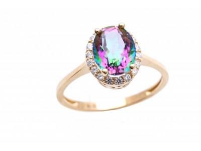 Inel bijuterii aur 14K zirconia colorat