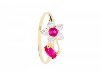 Inel copii bijuterii aur cu zirconii  floricica