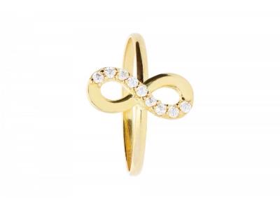 Inel copii bijuterii aur cu zirconii  infinit