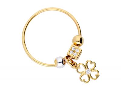 Inel cu charm aur 14K floricica
