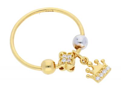 Inel cu charm aur 14K galben si alb coronita