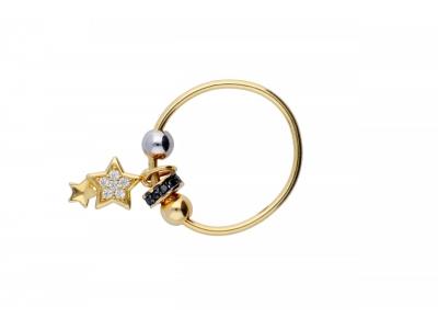 Inel cu charm aur 14K stelute