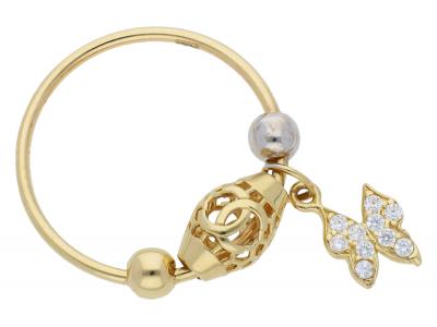 Inel cu charm din aur 14K galben si alb fluturas