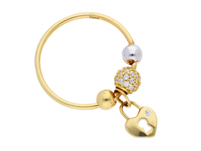 Inel cu charm din aur 14K galben si alb inimioara