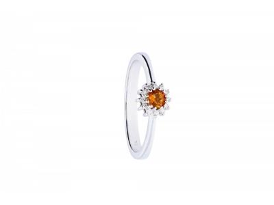 Inel de logodna aur 18k cu diamante si citrin