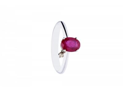 Inel de logodna aur 18k cu rubin si diamant