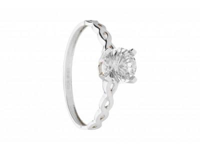 Inel de logodna bijuterii aur alb 14k