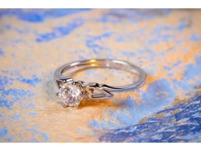Inel de logodna bijuterii aur alb cu zirconia