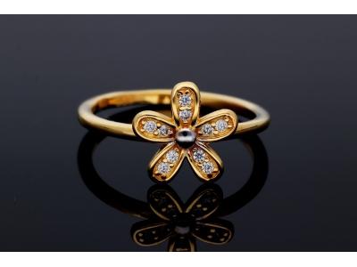 Inel din aur 14K floricica zirconii