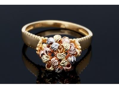 Inel din aur 14K galben, alb si roz cu bilute fatetate