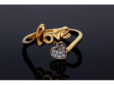 Inel din aur 14K inimioara Love